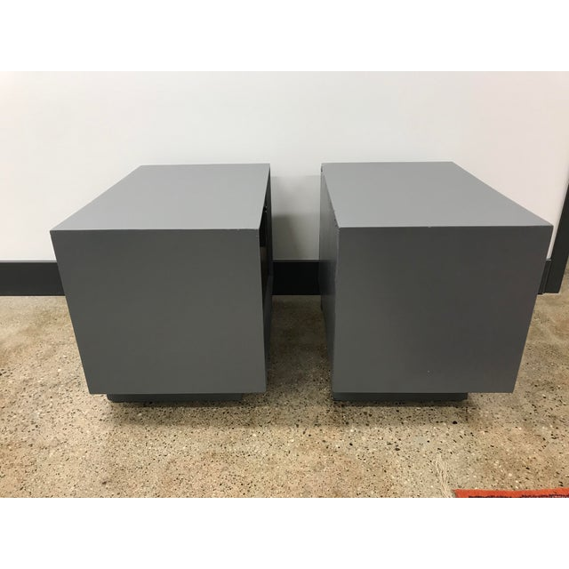 Mid 20th Century Midcentury Walnut and Grey Painted Nightstands by Lane - a Pair For Sale - Image 5 of 8