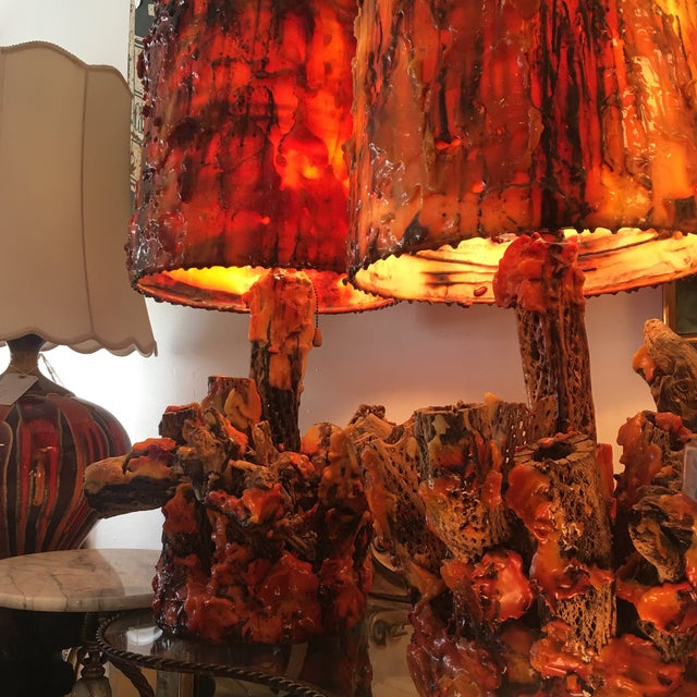 Vintage Waxed Cholla Wood Lamps - A Pair - Image 3 of 11