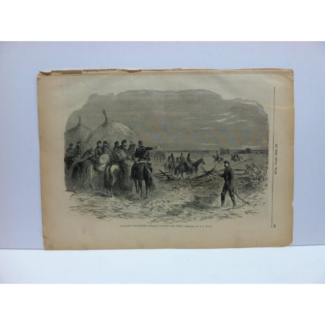 "1870s Antique ""Cavalry Collecting Forage Outside the Lines"" Pictorial Battles of the Civil War Print For Sale - Image 4 of 4"