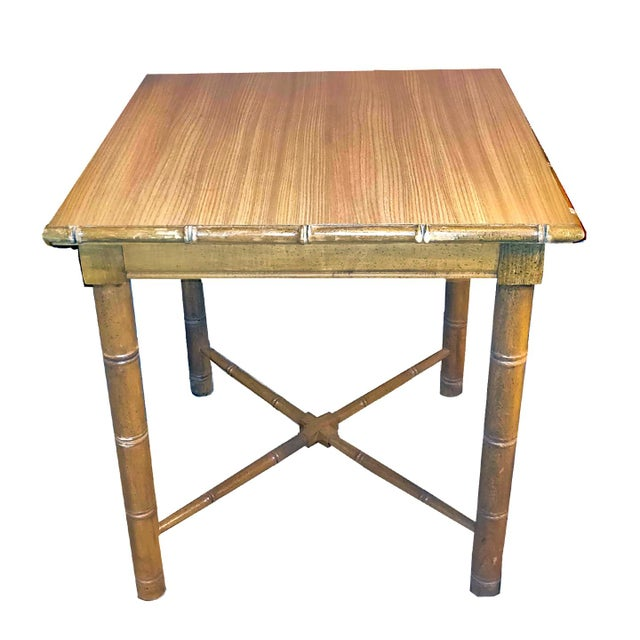 Sand Vintage Aesthetic Movement R J Horner Wood Formica Topped Faux Bamboo Rattan Side Table For Sale - Image 8 of 8