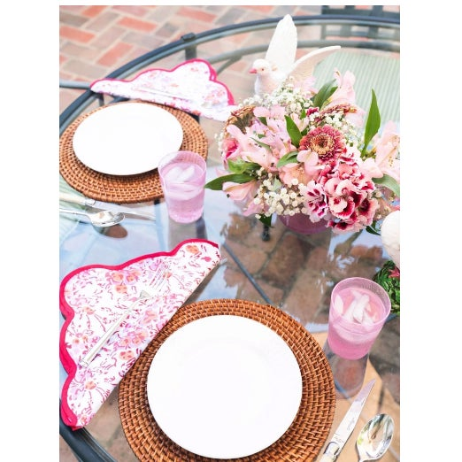 Elevate any table with my scalloped napkins. The pink floral pattern is a custom block print, and elegantly accented by...