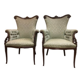 1930 Antique Fireside Chairs- A Pair For Sale