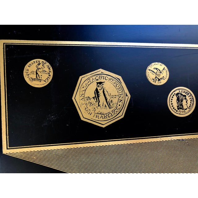 Hollywood Regency Mid Century Black Gold Fornasetti Style Coins Serving Tray For Sale - Image 3 of 8