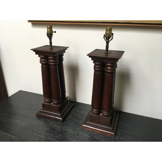 Early 20th Century Antique Wooden Architectural Table Lamps - a Pair For Sale - Image 4 of 9
