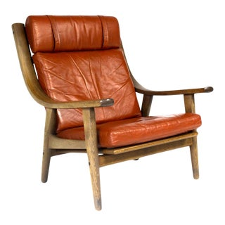 Mid-Century Danish Vintage Leather Lounge Armchair Hans J. Wegner For Sale