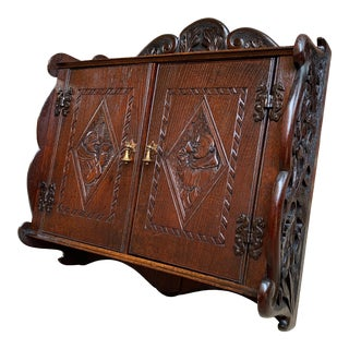 Antique French Carved Oak Wall Cabinet For Sale