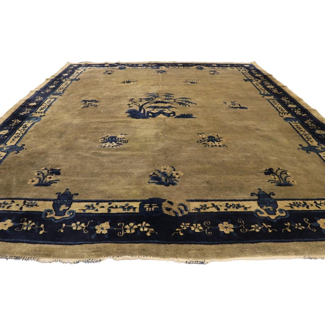 Art Deco Early 20th Century Antique Chinese Peking Rug With Pagoda Design 08'03 X 09'07 For Sale - Image 3 of 10