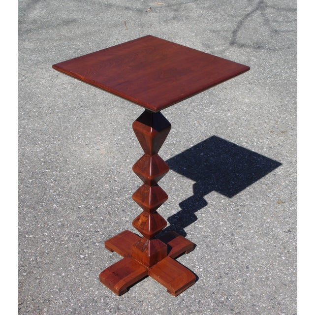 Vintage Ethan Allen American Solid Cherry Square Pedestal End Table Plant Stand For Sale - Image 11 of 11