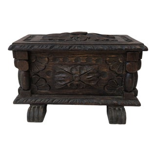 French Black Forest Wood Box Circa 1900 For Sale