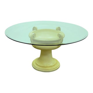 Vintage Hollywood Regency Fiberglass Urn Round Glass Top Dining Center Table