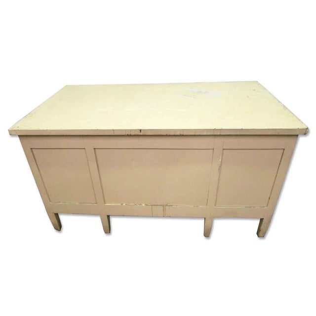 Wood Vintage Six Drawer Oak Wood Desk For Sale - Image 7 of 8
