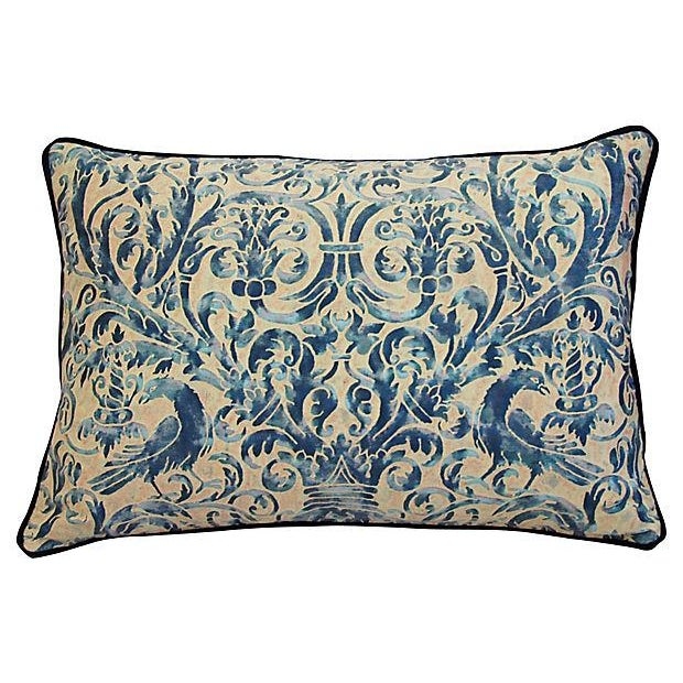 Custom Designer Italian Fortuny Uccelli Feather/Down Pillow (One Pillow) - Image 3 of 10