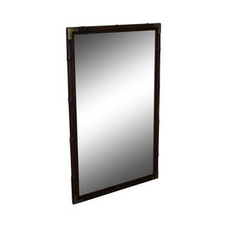 Henredon Faux Bamboo Mahogany Campaign Style Wall Mirror For Sale