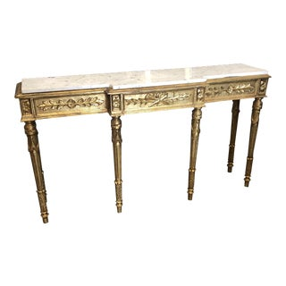 French Gilded Marble Console With Neoclassical Details** For Sale
