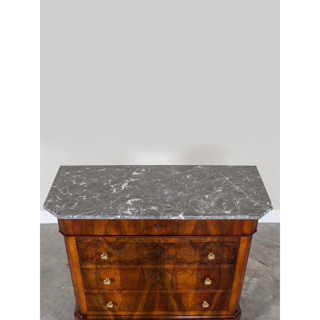 Antique French Louis Philippe Burl Walnut Chest with Marble Top circa 1850 - Image 11 of 11