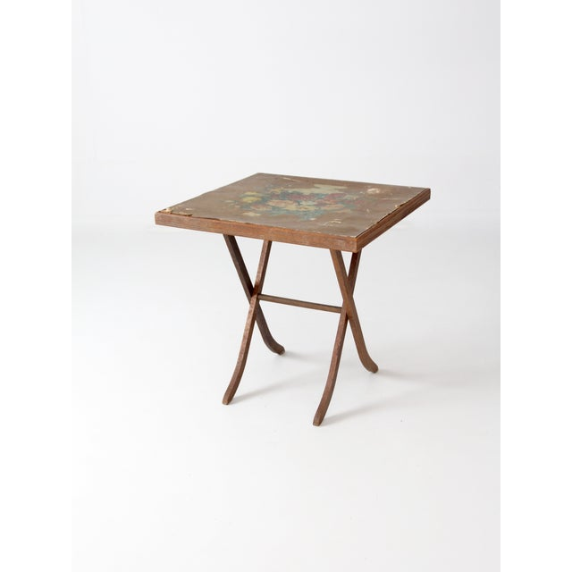 Vintage Floral Folding Table For Sale - Image 7 of 10