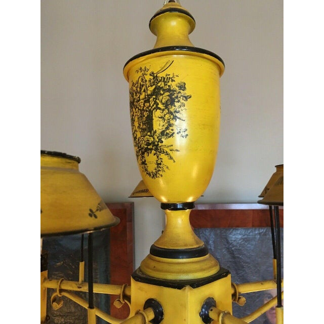 Early 20th Century Regency French Yellow Painted Tole Five Light Chandelier For Sale - Image 4 of 13