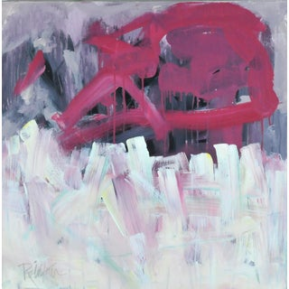 """""""Magenta, Gray, Over"""" Contemporary Abstract Expressionist Acrylic Painting by Robbie Kemper For Sale"""