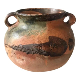 Old Painted Clay Pot, Double Handled Vase For Sale