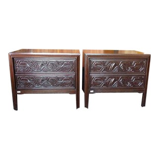 Mid-Century Modern Hand Carved Nightstands - a Pair