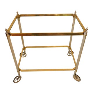 1960s Vintage Italian Brass Nickel & Glass Bar Cart