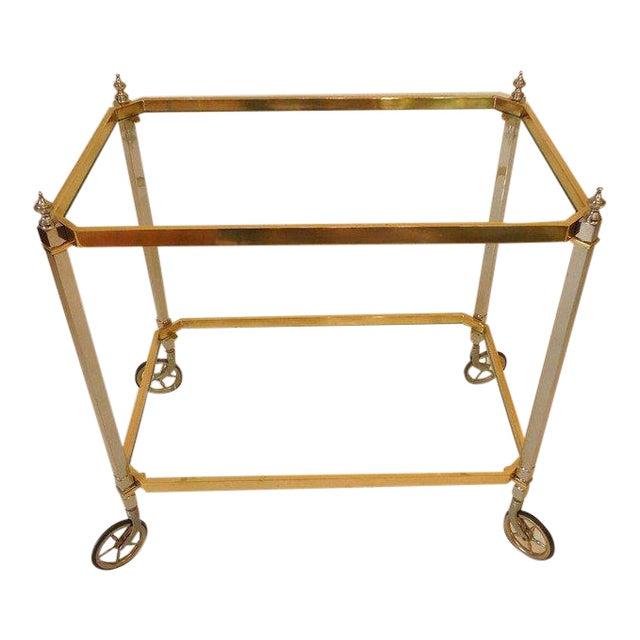 1960s Vintage Italian Brass Nickel & Glass Bar Cart For Sale