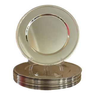 Godinger Gold Plate Metal Beaded Charger Plates- Set of 12 For Sale