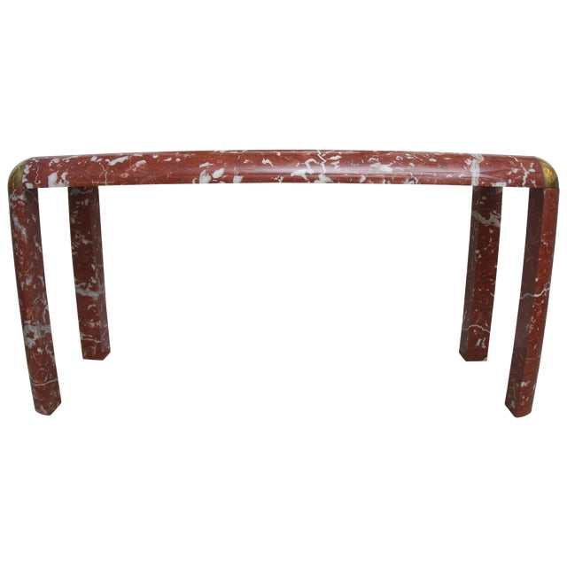 Karl Springer Console Table in Breccia Marble, Brass and Smoke Glass For Sale