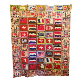 Vintage Cigar Felt World's Flags Textile Art For Sale
