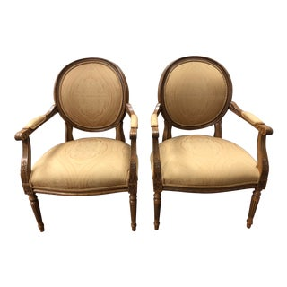 French Louis XVI Style Arm Chairs - a Pair For Sale