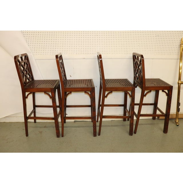 These are lovely stools is very, very good condition. 3 of the cushions are perfect, and 1 has soiling/staining. They are...