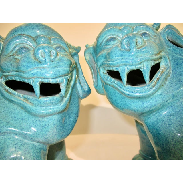 1920s Chinese Porcelain Mythological Beasts in Robin's Egg Blue Glaze - a Pair For Sale - Image 5 of 9