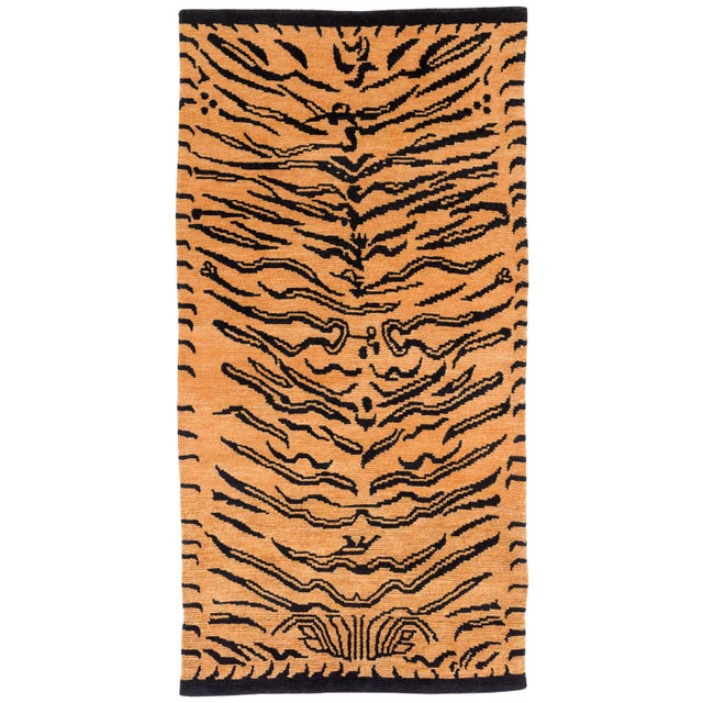 """Black Wool Tibetan Tiger Rug by Carini-3'x5'10"""" For Sale - Image 8 of 8"""