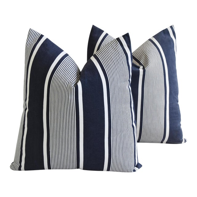 """Custom French Stripe Ticking Fabric Feather & Down Pillows 22"""" X 21"""" - a Pair - Image 1 of 11"""