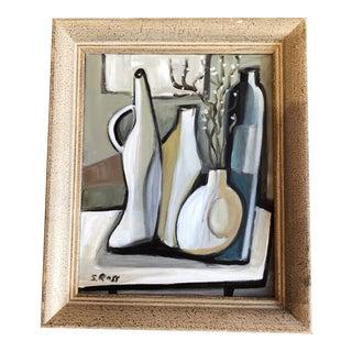 Original Stewart Ross Modernist Still Life With Bottles