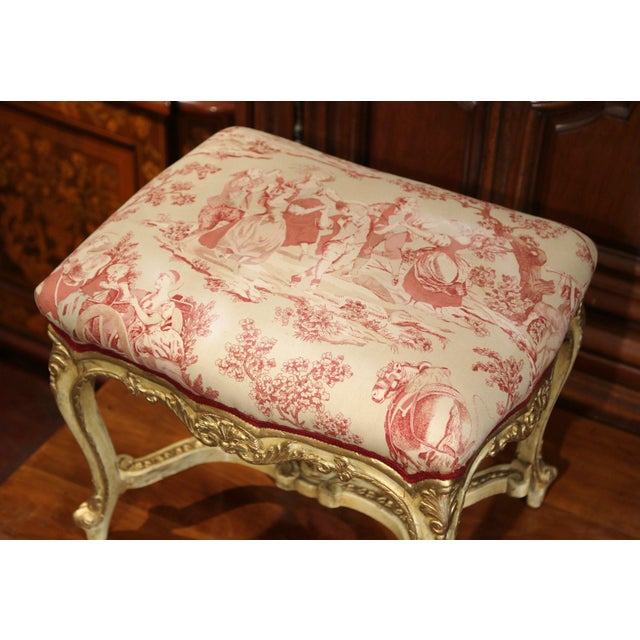 19th Century French Louis XV Carved Painted and Gilt Stool with Toile De Jouy For Sale - Image 4 of 10