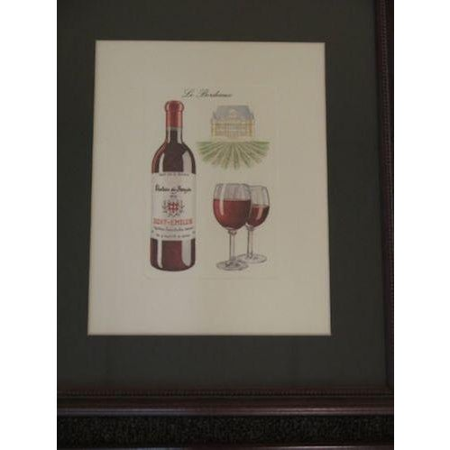 Traditional Wine Theme Matted Prints - Set of 4 For Sale - Image 3 of 7