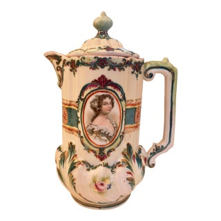 19th Century Hand Painted Austrian Hot Chocolate Pot For Sale