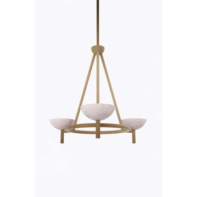 Postmodern Contemporary 200A Chandelier in Alabaster and Brushed Brass by Orphan Work, 2020 For Sale - Image 3 of 7