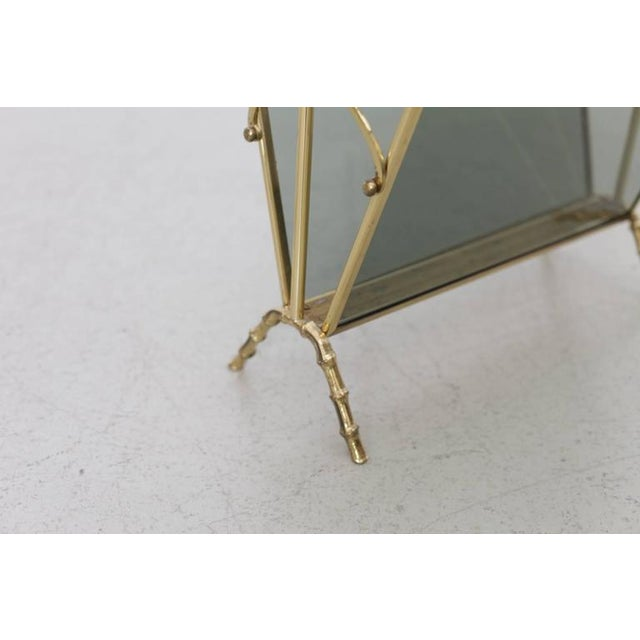 1960s Maison Bagues Brass and Glass Faux Bamboo Magazine Rack For Sale - Image 5 of 8