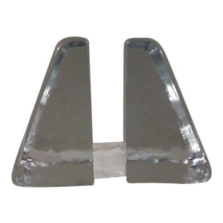 Don Shepard Wedge Blenko Block Glass Bookends - a Pair For Sale