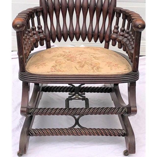 "Wood Late 19th Century George Hunzinger Highback ""Lollipop"" Platform Rocking Chair For Sale - Image 7 of 13"
