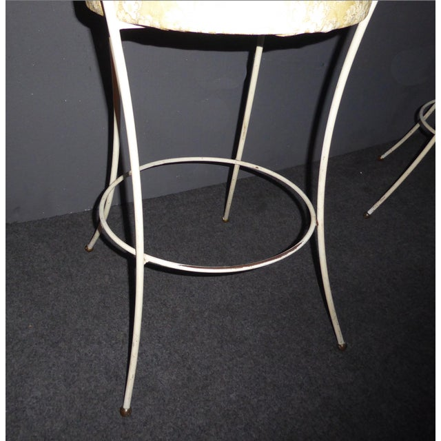 Vintage Mid-Century Modern White Wrought Iron Bar Stools- Set of 4 - Image 11 of 11
