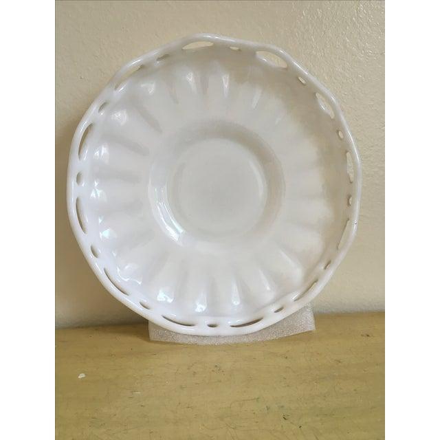 Lattice Milk Glass Large Serving Tray, Mid Century - Image 2 of 8