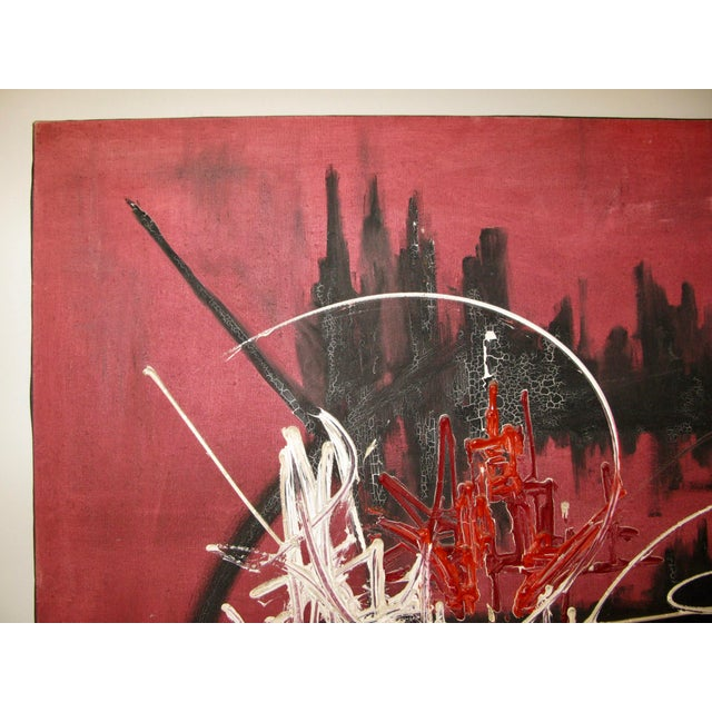 French Abstract Oil on Canvas in the Manner of Georges Mathieu, 1974 For Sale - Image 4 of 9