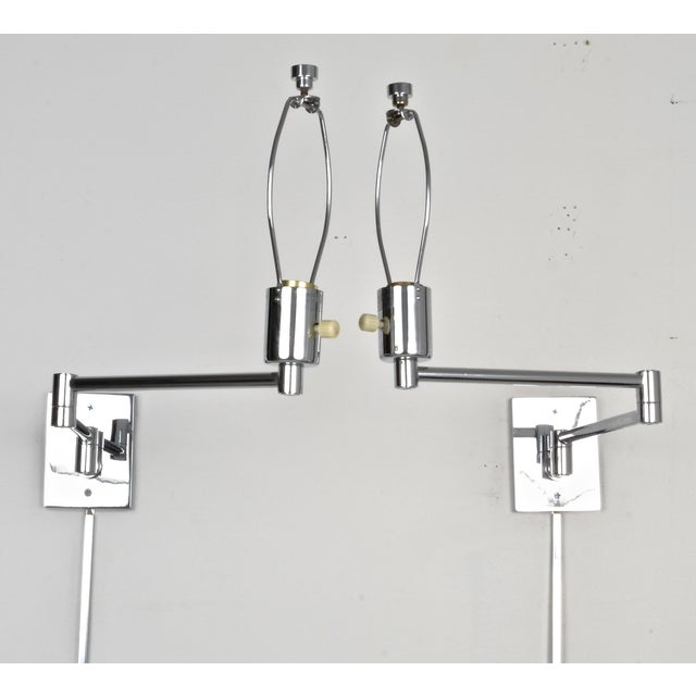 Silver Hansen Chrome Swing Arm Sconces, 1970s For Sale - Image 8 of 8