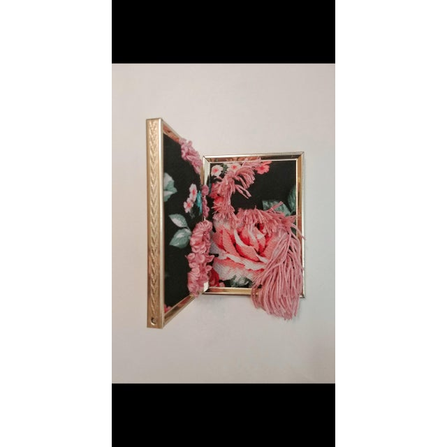 Contemporary Floral Fabric Tapestry in Double Frame For Sale - Image 4 of 7