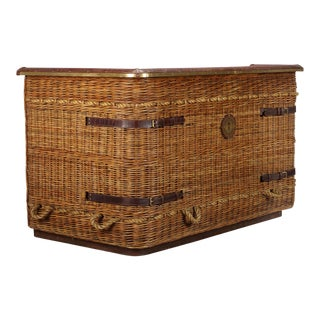 Stiles Brothers Rattan Leather and Brass Gondola Bar