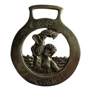 Vintage English Horsebrass Bridle Decoration - Zodiac Astrology Sign Aquarius For Sale