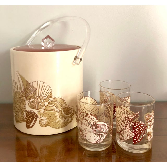Acrylic Seashell Ice Bucket & Matching Glasses - Set of 4 For Sale - Image 12 of 13